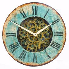 Wooden Vintage Wall Clock with Moving Cogs   Wooden Vintage Wall Clock wth Moving Cogs
