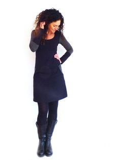Entdecke lässige und festliche Kleider: Kleid mit Taschen, schwarz mit Ringelmuster made by by sita via DaWanda.com