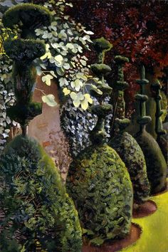 Stanley Spencer, (English painter, 1891 – Clipped Yews Stanley Spencer was from the small village of Cookham in southern Englan. Stanley Spencer, Prinz Charles, Prinz William, Garden Painting, Garden Art, Landscape Art, Landscape Paintings, Landscapes, Abstract Paintings