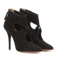 Aquazzura Sexy Thing Suede Stiletto Ankle Boots (2.270 BRL) ❤ liked on Polyvore featuring shoes, boots, ankle booties, ankle boots, black, stiletto ankle boots, suede ankle boots, black booties, short black boots and black boots