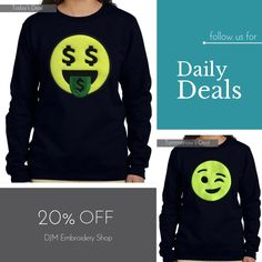 Today Only! 20% OFF this item.  Follow us on Pinterest to be the first to see our exciting Daily Deals. Today's Product: Black Women Smiling Money Face Emoji Sweatshirt Buy now: http://djm-embroidery-shop.myshopify.com/products/black-women-smiling-money-face-emoji-sweatshirt?utm_source=Pinterest&utm_medium=Orangetwig_Marketing&utm_campaign=20%25%20Off%20Ladies%20Emoji%20Sweatshirt   #musthave #loveit #instacool #shop #shopping #onlineshopping #instashop #instagood #instafollow #photooftheday…