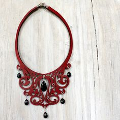 Fancy Filigree Leather Bib Necklace in Red with Black Spinel Stones