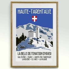 Retro 60s Travel Ski Poster Haute Tarentaise French by ApresArt