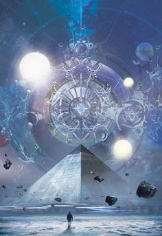 "panzertron: ""Stephan Martiniere's cover art for the Tor translated edition of Liu Cixin's The Three-Body Problem "" Fantasy Places, Sci Fi Fantasy, Fantasy World, Science Fiction Kunst, Arte Black, Visionary Art, Fantasy Artwork, Sci Fi Art, Sacred Geometry"
