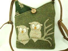 Owl Felt Shoulder Bag  Woolen Messenger Bag Hip Bag Moss Green and Beige Owl Applique Adjustable Leather Strap Upcycled Eco-Friendly. $38.00, via Etsy.