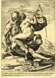 The ways of fortune Labour and Industry; a naked male and female embrace and kiss; she holds a whip and a spur while he holds a flail; a spade, anvil and hammer lie on the ground. 1582 - Hendrick Goltzius