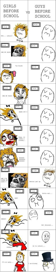 Hahaha girls vs boys while getting ready