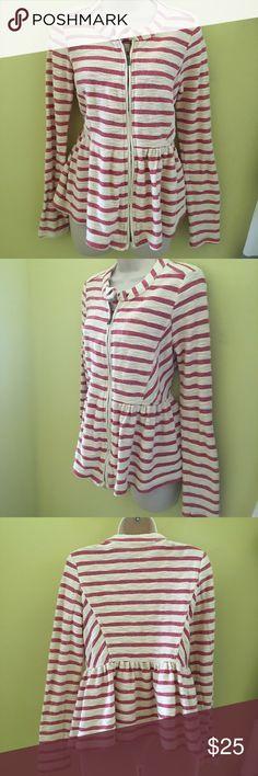 Free People pink cream stripe zip up jacket xs Free People pink cream stripe zip up jacket xs Free People Jackets & Coats
