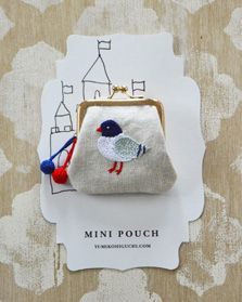yumiko higuchi embroidery art - mini pouch - pigeon