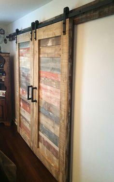 Diy Barn Door, Barn Door Hardware, Basement Doors, Door Stays, Sliding Pocket Doors, Room Divider Doors, Barn Door Designs, Shed Doors, Cool Doors