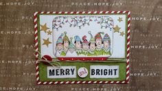 Card No. 5 of my Holiday Lineup series.  Elves and paper from Stampin'Up.  Holiday lights image from Ellen Hutson's 'Tis the Season.
