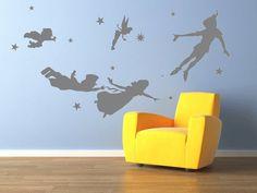 Vinyl Wall Decal Peter pan wall decal nursery kids teen girl decals flying tinkerbell wendy stars home baby room decor Wall Sticker kid