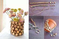 Diy rustic tree stump vase. Love this!