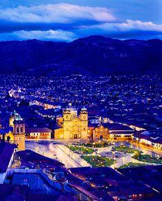 Cathedral of Cusco at twilight, Cusco, Peru