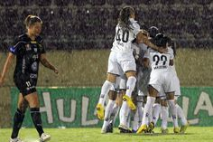 Equipe do Santos comemora gol. Foto: Bruno Miani - ZDL.