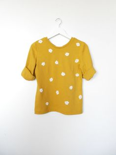 Simple Loose Silhouette Mustard Jersey Handmade Sweater with 3 D Lace Flowers / Casual yet Charming Sweater Top fit for S / M sized Women by BlumArt