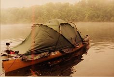 An idea for a floating campsite - tandem canoe or pontoon platform - make it bigger so can have tent AND room for cooking, steerage.