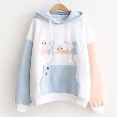 b452b59a35 Cute Kawaii Cat Embroidery Hoodie Pullover SP1710563