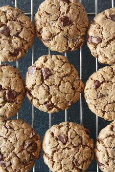 Soft and chewy chocolate chip cookies made with buckwheat flour! Dairy Free Cookies, No Flour Cookies, Gluten Free Sweets, Healthy Sweets, Healthy Dessert Recipes, Desserts, Healthy Breakfasts, Healthy Cookies, Healthy Food