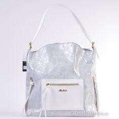 Szaro/srebrno biała torba produkcji polskiej. Lekka, pojemna, wyjątkowa. Model o niepowtarzalnym stylu.