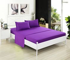 Kuality Bedding 4-Piece Bed Sheet Set (1 Fitted Sheet, 1 Flat Sheet, 2 Pillow Cases) Easy Care Anti-Wrinkle Stain & Fade Resistant, Full Size, Dark Purple