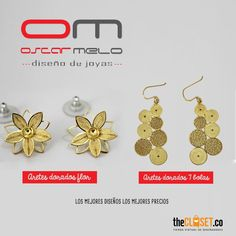 #Aretes en #filigrana con baño en oro de la marca OM Joyas de Óscar Melo. Revisa el catálogo completo en nuestra tienda online: http://thecloset.co/om_joyas_filigrana_plata_oro