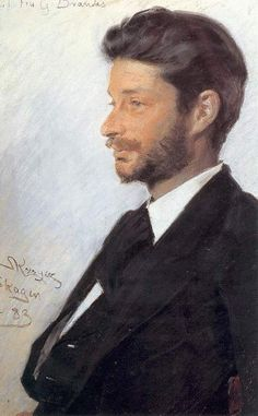 Portrait of Georg Brandes, 1883 by Peder Severin Kroyer (Danish 1851-1909)....well rendered, sensitive portrait...Brandes was a Danish critic and scholar....see nearby pin for portrait as a mature man....