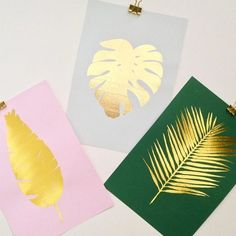 Our screen printed Gold Leaf collection, is all hand printed on quality card stock. Feuille D'or, Leaf Cards, Hand Painted Walls, Gold Leaf, Gold Foil, Craft Markets, Diy Christmas Cards, Homemade Cards, Printmaking