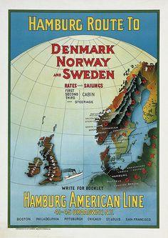 Hamburg-American Line - Hamburg route to Denmark, Norway and Sweeden - 1939 -