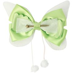 Disney Peter Pan Tinker Bell Cosplay Hair Bow ($5.95) ❤ liked on Polyvore featuring accessories, hair accessories, bow, disney, hair, lime, disney hair bows, disney hair accessories and bow hair accessories