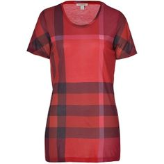 Burberry Orange-Red Check Short Sleeve T-Shirt - Sale Burberry T Shirt, Short Sleeve Dresses, Dresses With Sleeves, Coat, Mens Tops, Shirts, Fashion, Burberry Shirt, Moda