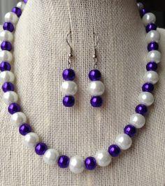 Purple Necklace Pearl Necklace Bridesmaid by CherishedJewelryCo, $26.00