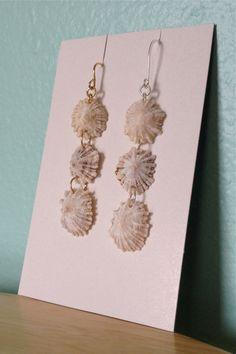 Sterling Silver Or Gold Fill,Hawaiian Opihi Dangle Earrings,Your Choice Metal,Stacked Hawaii Seashell Drops,Handmade Hawaiian Shell Jewelry, $14.00