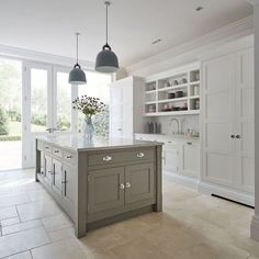 Shaker Kitchens - Warm Grey Shaker Kitchen - Tom Howley(Beauty World Dreams) Browse photos of Small kitchen designs. Discover inspiration for your Small kitchen remodel or upgrade with ideas for organization, layout and decor. Open Plan Kitchen Living Room, Kitchen Dining Living, Home Decor Kitchen, Kitchen Interior, New Kitchen, Kitchen Grey, Kitchen Ideas, Kitchen Inspiration, Kitchen With Tile Floor