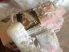 Baptism candle  set / Set para Bautizo color Rosita   En Repujado,  angel de la guarda/ Vela para Bautizo