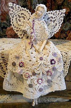Angel Art Doll, Handmade of Paper Clay, Fabric Body, Vintage Crochet