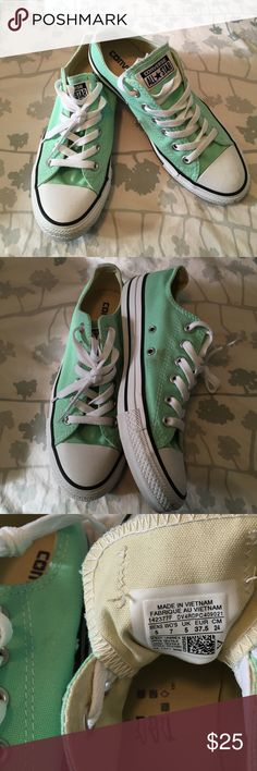 Converse Mint green converse!  Worn once, got the wrong size. Perfect for a pop of color. Converse Shoes Sneakers