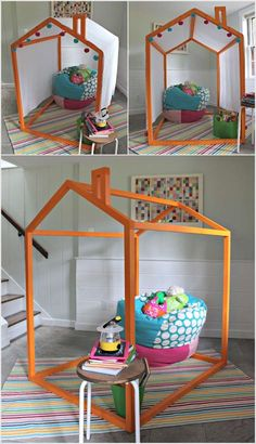 make an indoor playhouse frame for the kids for just $20 and drape a ...