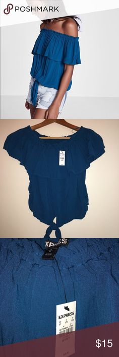 Express off shoulder tie top (MEDIUM PETITE) Brand new, just brought this week (6/1/17) accidentally bought PETITE size. Really nice blue color, goes great with light colored jean shorts. Off shoulder and ties in the front. Express Tops Blouses