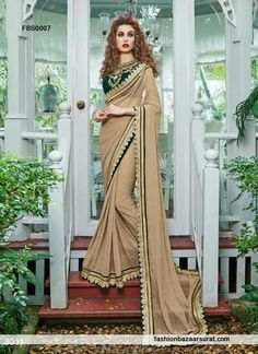 Designer saree and trendy saree available in a variety of latest designs. Shop this Glitzy Bottle Green Faux Georgette Party Wear Saree.