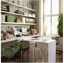 home office ideas. I like the separation of space and lots of open storage