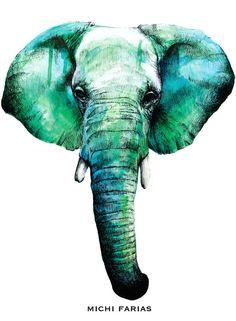 Bright Seaweed Elephant Print by michifarias on Etsy, $20.00