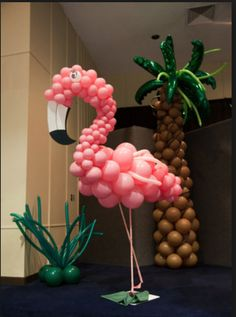 Flamingo and palm balloons Pink Flamingo Party, Flamingo Birthday, Luau Birthday, 1st Birthday Parties, Aloha Party, Luau Party, Balloon Decorations, Birthday Decorations, Tropical Party Decorations