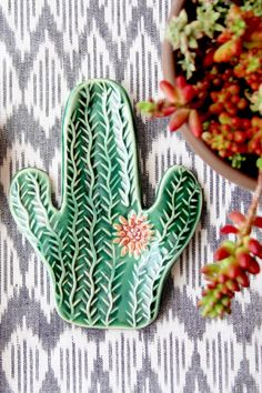 Cactus Succulent Spoon Rest Jewelry Tray Soap by BackBayPottery Jewelry Tray, Handmade Jewellery, Body Jewelry, Jewelry Making, Handmade Pottery, Spoon Rest, Ceramic Pottery, Slab Pottery, Decoration
