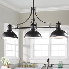 Craftsman Period Island Chandelier – 3 Light - All For Decoration Kitchen Island Lighting, Kitchen Lighting Fixtures, Bathroom Lighting, Kitchen Islands, Farmhouse Light Fixtures, Fan Light Fixtures, Kitchen Island Chandelier, Ceiling Fixtures, Vintage Industrial Lighting