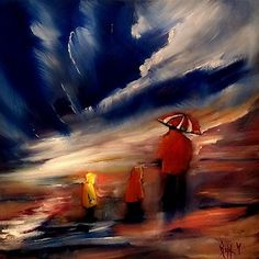 """LOOKING FOR SEASHELLS  original oil painting hand painted on DEEP EDGE stretched canvas SIZE 16""""X16""""  artist signed"""