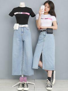 Frock Fashion, Kpop Fashion Outfits, Ulzzang Fashion, Harajuku Fashion, Edgy Outfits, Korean Outfits, Cool Outfits, Korean Fashion Trends, Korean Street Fashion