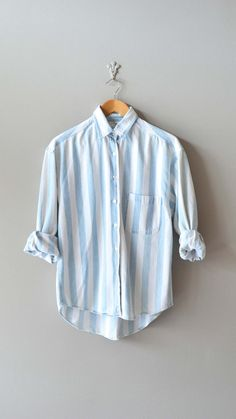striped denim shirt / denim button down shirt / blue by DearGolden, $44.00