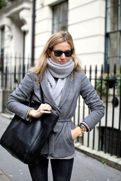 Grey wrap coat   Grey scarf