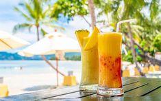 ital koktél nyár Coconut Palm Tree, Palm Trees Beach, Pineapple Fruit, Clear Blue Sky, Latest Hd Wallpapers, Summer Landscape, Tropical Landscaping, Sea Waves, Original Wallpaper